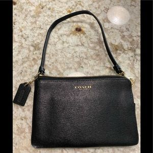 COACH black small leather wristlet